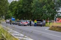 Auto's botsen op de Nije Fjildwei bij Oudehaske