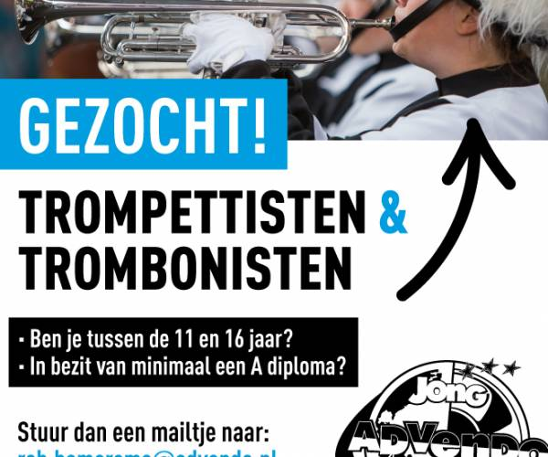 Gezocht: Trompettisten en Trombonisten bij Jong Advendo